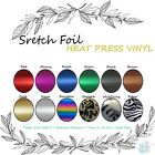 "STRETCH Foil Heat Transfer Vinyl 20"" x 1 Yard 12 COLORS."
