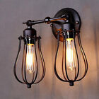 Vintage Wall Sconce Antique Oil Black Finish Wire Cage Indoor Wall Lighting Lamp
