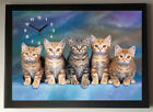 Tabby Kittens A4 Picture Clock