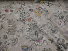 Grey Baroque Flowers  Linen Blend Floral Edinburgh Weavers Fabric.