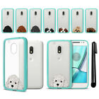 "For Motorola Moto G4 Play 5"" XT1607 Dog Skin Clear Teal Bumper Case Cover + Pen"
