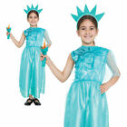 Child Statue of Liberty Girl Costume American Fancy Dress Outfit Kids