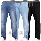 New Designer Kids Boys Stretch Casual Elasticated Jogger Jeans Waist Blue Washed