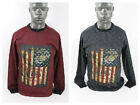 Smoke Rise MEN'S FISHTAIL F.TERRY CREW W/FLAG APPLIAUE AND SIDE ZIPPER JA-575