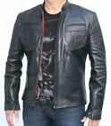 Mens Fashions Vintage Biker Style Black leather Jacket with Authentic Chest
