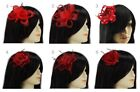 Red Fascinator Brooch Clip Hair Flower Mesh Wedding Prom Ladies Day Races UK New