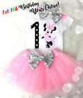 First 1st -7th Birthday Girl Tutu Outfit Light Pink Minnie Mouse Silver Headband