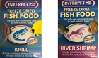 INTERPET FREEZE DRIED FISH FOOD RIVER SHRIMP or KRILL 5G FRESH WATER MARINE