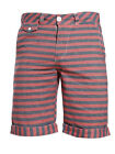 Mens Bellfield Chambray Striped Fold Up Red/Navy Cargo, Combat Chino Shorts M...