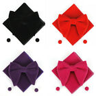 Men Velvet Oversized Bow Tie Pocket Square Cufflinks Set Bowtie Hanky Cuff Links