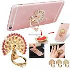 Shiny Crystal Peacock Diamond Back Phone Case with Metal Ring Holder Stand NN