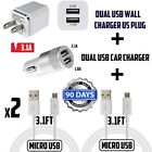 2.1A DOUBLE USB Wall Charger + Car Charger + 2 micro cables for Samsung,LG,ZTE..