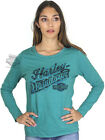 Harley-Davidson Womens Tattered B&S Faded Turquoise Long Sleeve Terry Sweatshirt