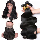 Grade 9A Thick 100% Virgin Human Hair 3 Bundles with 360 Frontal Lace Closure