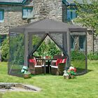 Garden Gazebo Marque Large Hexagonal Party Awning Shower-proof Shelter Shade New
