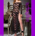 Pure Black Lace Gown Long Sleeved Gown-Stylish Lingerie-Choose Size 8-10-12