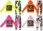 Girls Hoody Top Leggings Outfit Minx Girl Boss Neon Army Camo Set 7 to 13 Years