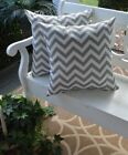 "Set of 2 - Throw Toss Pillow Gray White Chevron In/Outdoor USA - 17"" x 17"""