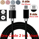 1M 2 in 1 Dual Use Micro USB Braided Charging Charger Data Sync Cable Adapter