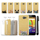 For Alcatel A30 Cat Design Slim Sparkling Gold TPU Silicone Case Cover + Pen