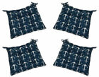 """Set of 4- Tufted Chair Seat Cushion w/Ties Navy Blue w/White Anchors- 16"""" x 16"""""""