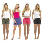 Womens Ladies Linen Summer Casual Shortie Shorts UK Size 10 12 14 16 18