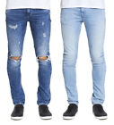 MENS DML SKINNY STRETCH FORTRESS JEANS IN BLEACH & RIP REPAIR WASH
