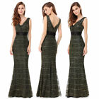 Ever-pretty Long Formal Mermaid Evening Gown V-neck Lace Cocktail Dresses 08779