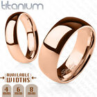 Polished Rose Gold Ion Plated Solid Titanium Ring Band Ring Sizes 5 thru 14 image