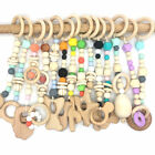 Wooden Teether Baby Play Gym Pram Toys Chew Silicone Teething Beads Stroller Toy