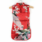 Mother Daughter Chinese Qipao Baby Girl Women Mom Floral Peacock Cheongsam Dress