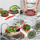 2pcs Collapsible Silicone Collander Kitchen Folding Strainer Vegetable Baskets