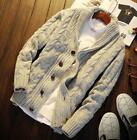hot Mens Chunky Collared Cardigan Winter Sweater Shawl Thick Warm Knitted Jumper