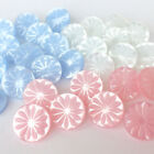 Petal shank buttons pink white or blue 3 sizes sold per 5 buttons