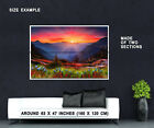 64434 Sunrise - Mountains Spring Flowers Nature Decor Wall Print Poster