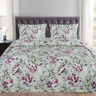Dolce Sage/Purple Floral Pattern Reversible 3-Piece Duvet Cover Set King image