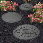 Garden Stepping Stones Recycled Rubber Outdoor Reversible Footpath Leaf Design