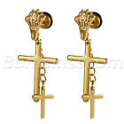 2pcs Men's Women's Stainless Steel Evil's Claw Drop Double Cross Studs Earrings