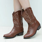 SheSole Womens Winter Cowboy Western Brown Boots Vintage Wedding Shoes