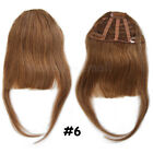 Clip in 100% Remy Human Hair Top Front Bangs Fringe Natural Straight Hairpiece