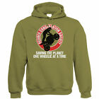 Rubber Conservation Society, Mens Funny Biker Hoodie - Gift For Him Dad
