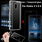 Clear TPU Gel Case Cover +Free Tempered Glass Screen Protector For Nokia 3 5 6 8