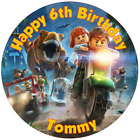 """Lego Jurassic World PERSONALISED 7.5"""" ROUND EDIBLE ICING PRINTED CAKE TOPPER"""