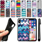 "For Apple iPhone X 5.8"" Chevron Design TPU SILICONE Protective Case Cover + Pen"