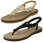 Ladies Savannah Flower Detailed Toe Post Sandals With Ankle Strap
