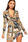 Womens Baroque Scarf Print Plunge Ruched Knot Party Bodycon Mini Dress Ladies