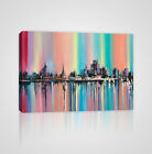 City's Skyline in Fantasy Rainbow Colors Framed Canvas Print - YC06