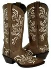 Womens Light Brown Distressed Leather Embroidery Design R...