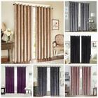Silver Luxury Crushed Velvet Window Curtains Ready Made Lined Eyelet Ring Top