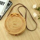 Handwoven Bali Round Rattan Beach Bag with Button Clip UY
